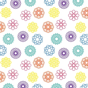 Collection of colorful vibrant islamic geometric shapes decoration object