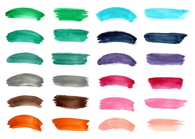 Collection of colorful watercolor abstract brush strokes