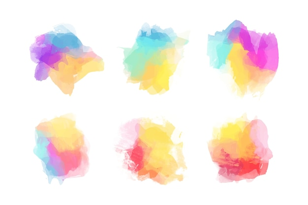 Collection of colorful watercolor stains