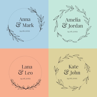 Collection of colorful wedding monograms