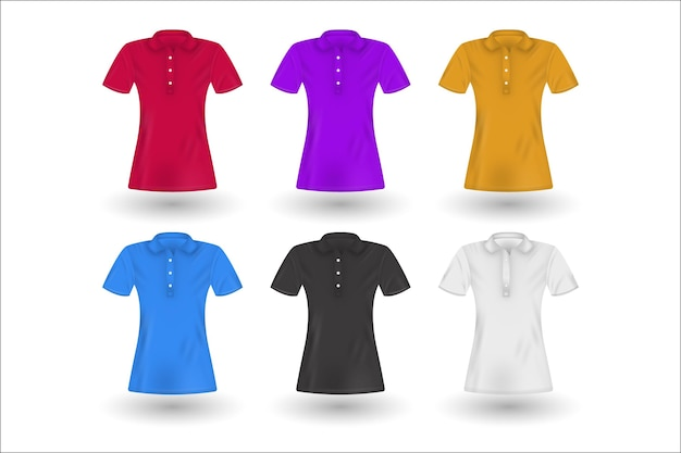 Collection of coloured polo shirts with shadows