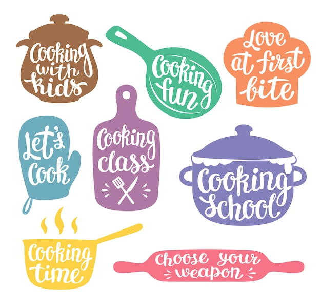 Collection of coloured silhouettes for cooking label