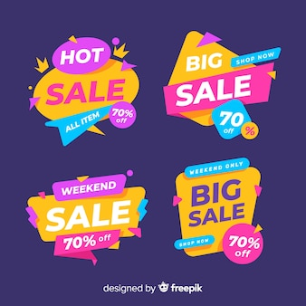 Collection of colourful abstract sale banners