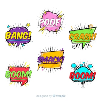 Collection of colourful comic speech bubbles