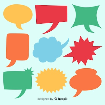 Collection of colourful hand drawn speech bubbles Premium Vector