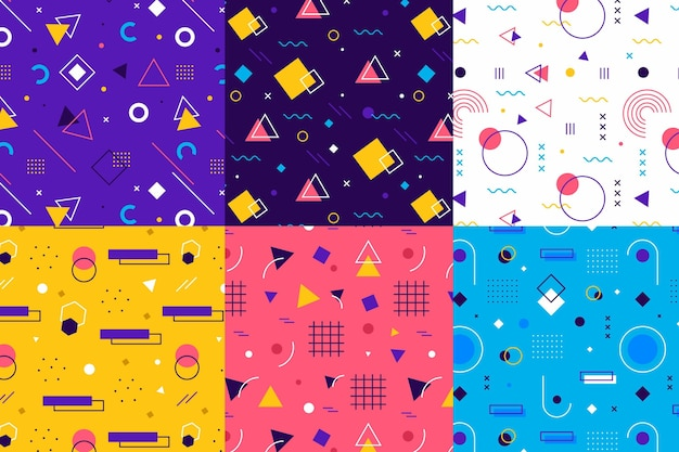 Collection of colourful memphis patterns