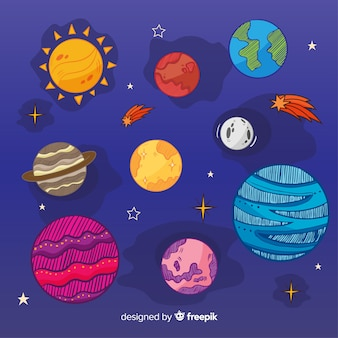 Collection of colourful milky way planets