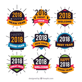 Collection of colourful new year stickers