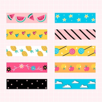 Collection of colourful pattern scrapbook tape