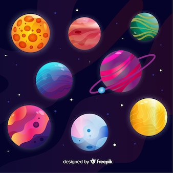 Collection of colourful planets from solar system