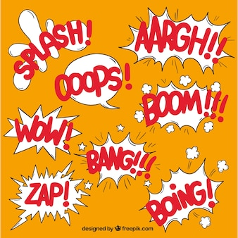 Collection of comic elements with onomatopoeias