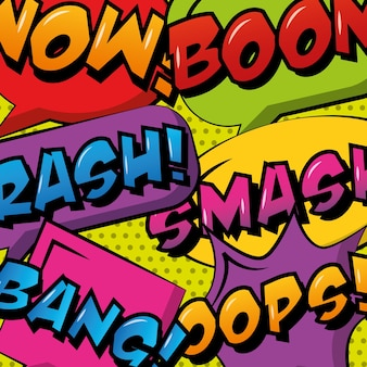 Collection comic pop art speech bubble and phrases