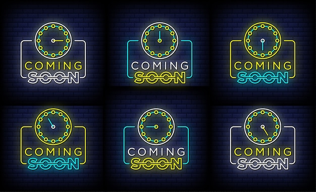 Collection of coming soon neon signs style text