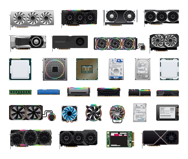 A collection of computer components