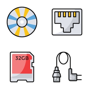 Collection  of computer hardware icons
