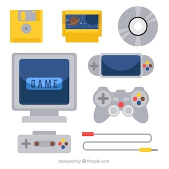 Raccolta di console ed elementi in design piatto