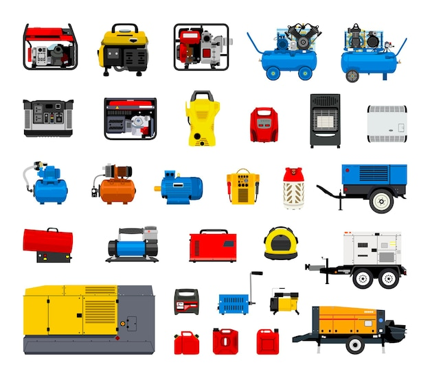 Collection of construction equipment