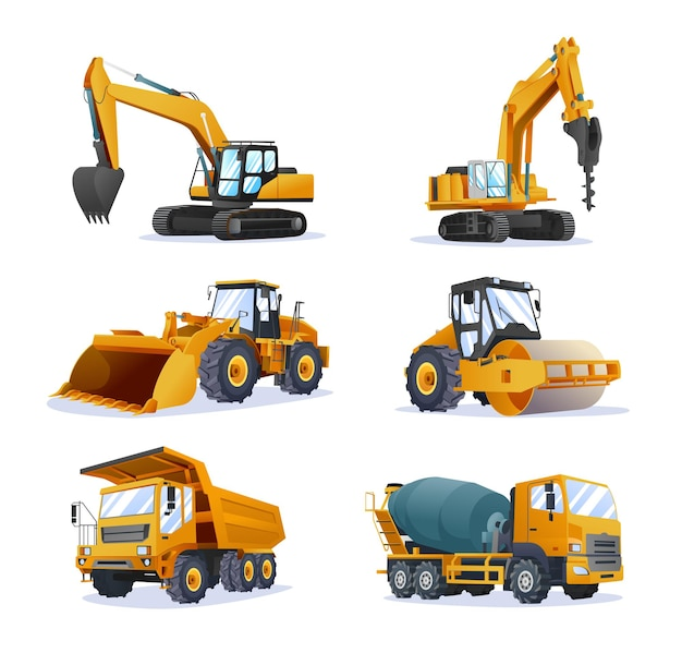 Collection of construction heavy machinery vehicles isolated illustration