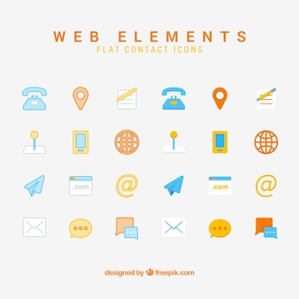 Collection of contact elements Premium Vector