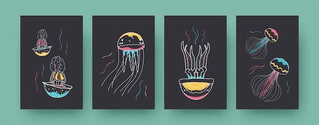 Collection of contemporary art card with colorful medusas