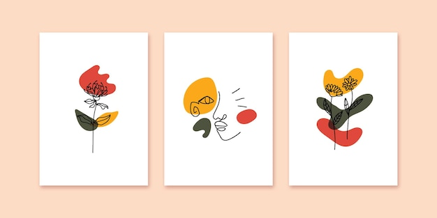 Collection of contemporary art poster in bold color with face and botanical minimalist line hand drawn illustration