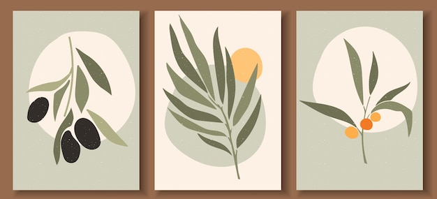 Collection of contemporary art posters in pastel colors