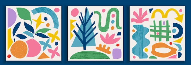 Collection of contemporary art posters in vibrant colors. abstract trendy geometric elements and organic and paper cut shapes, doodle objects. great design for social media, postcards, print.