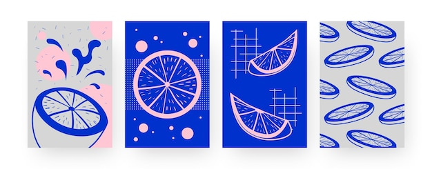 Collection of contemporary art posters with slices of lime. cut citrus fruit  illustrations in creative style. summer, fruit concept for designs, social media,