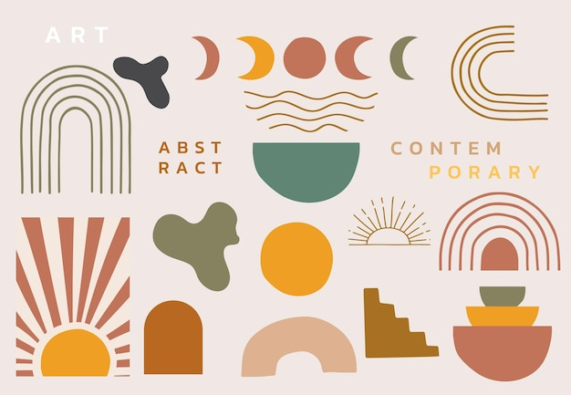 Collection of contemporary object set with woman,shape,rainbow.editable vector illustration for website, invitation,postcard and poster