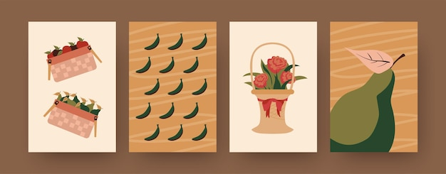 Collection of contemporary posters with food and flower hampers. baskets of apples, pears, bananas  illustrations. picnic, summer concept for designs, social media,