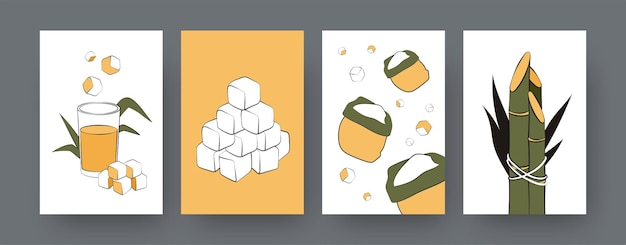 Collection of contemporary posters with sacks of sugarcane. sugar cane cubes, juice, plants cartoon  illustrations. agriculture, nature concept for designs, social media, postcard