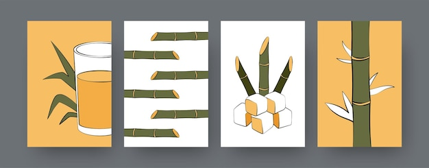 Collection of contemporary posters with sugarcane plants. sugar cane cubes, glass of juice cartoon  illustrations. agriculture, nature concept for designs, social media,