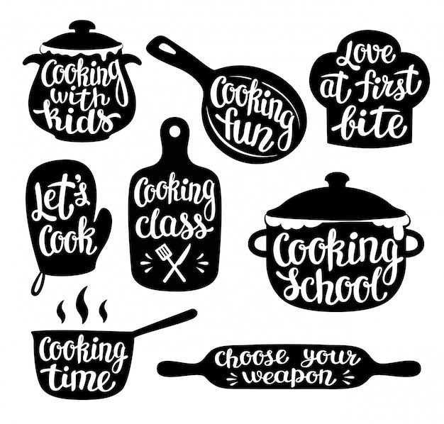 Collection of cooking label or logo.
