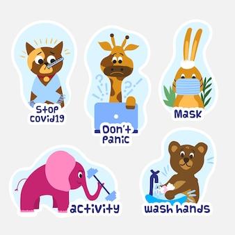 Collezione di adesivi per la prevenzione degli animali del coronavirus
