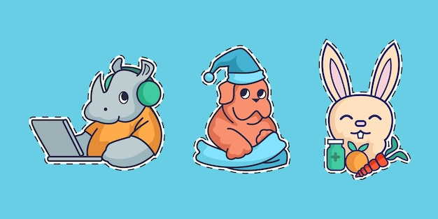 Collection of coronavirus concept stickers with cute animals