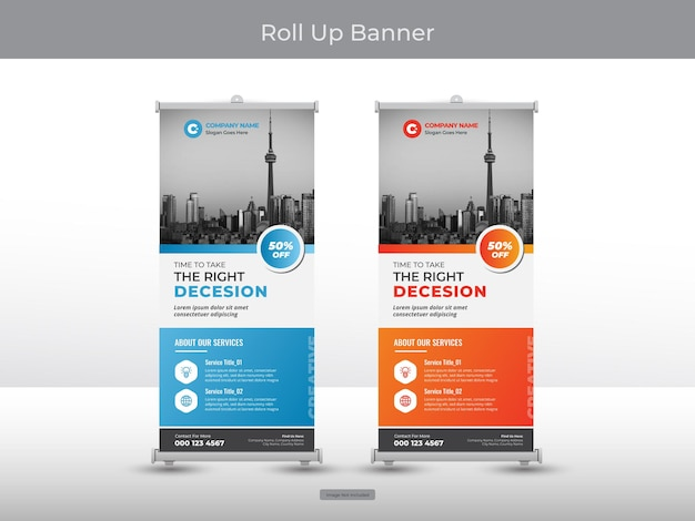 Collection of corporate roll up banner