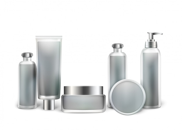 Collection of cosmetic bottles for beauty products