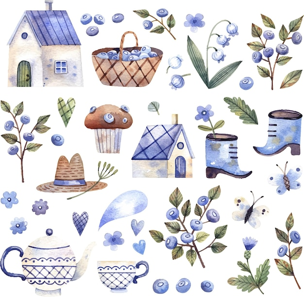 Collection of  cottage core illustrations small houses basket of berries cup with flowers