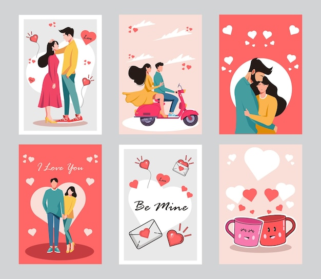 Collection of couples on romantic date. flat cartoon  card.