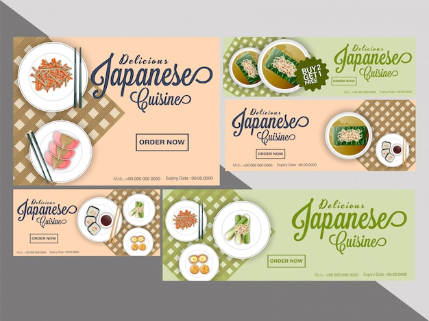 Collection of coupon or voucher set for japanese cuisine.