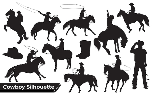 Collection of cowboy or horse rider silhouette