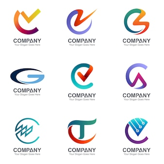 Collection of creative combination letter c logo
