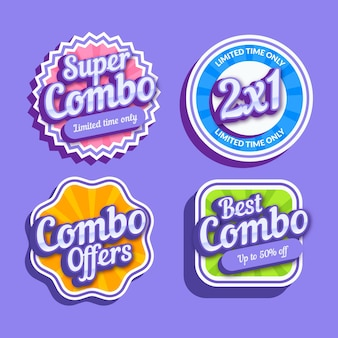 Collection of creative combo offers labels
