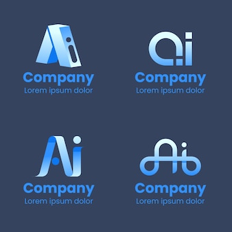 Collection of creative flat ai logos