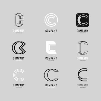 Collection of creative flat c logos