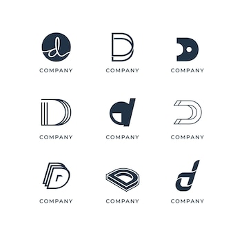 Collection of creative flat d logos
