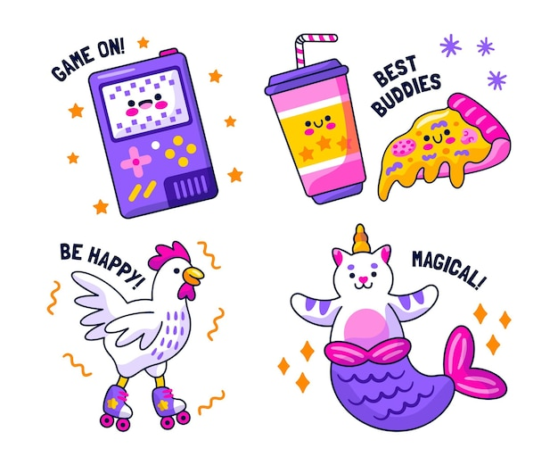 Collection of creative fun stickers