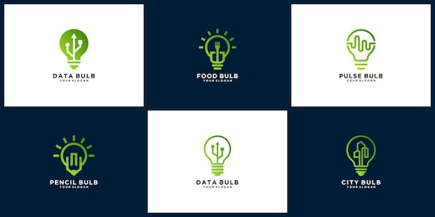Collection of creative light bulb logo templates