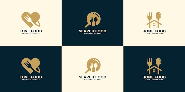 Collection of creative logos for food search, food orders and ready meals