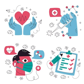 Collection of creative medical stickers